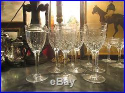 9 anciens verres a vin en vin cristal taillé art deco 1940 st louis feuille