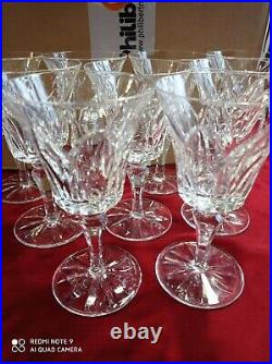 9 verres à vin rouge ou eau cristal SAINT LOUIS mod Camargue, 15,2 cm, signé