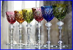 Antique 6 Verres Vin En Cristal Couleur Double Taille Baccarat St. Louis