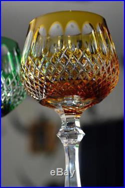 Ancien 6 Verres A Vin En Cristal Double De Couleurs Baccarat St. Louis