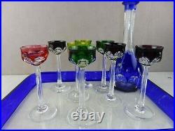 Ancien service à liqueur sur plateau, décor côtes, en cristal, de Saint Louis