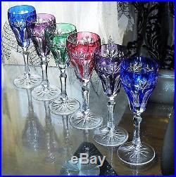 ancienne 6 flutes a champagne cristal couleur double taille st louis verres cristal st louis. Black Bedroom Furniture Sets. Home Design Ideas