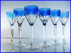Ancienne 6 Grand Verres Cotes Plates Cristal Couleur Blue Bristol St Louis Signe