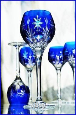 ancienne 6 verres vin en cristal couleur double blanc bleu taille st louis verres cristal st. Black Bedroom Furniture Sets. Home Design Ideas