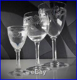 Ancienne 7 Verres A Vin En Cristal Grave Degage L'acide St Louis Modele Manon