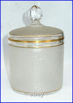 Ancienne Boite A Poudre En Cristal De Saint Louis Service De Toilette Xixe Or