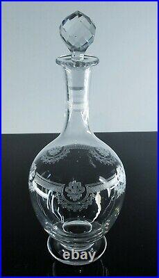 Ancienne Carafe A Vin Cristal Grave Degage L'acide Modele Manon St Louis 1930