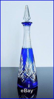 Ancienne Carafe Cristal Couleur Double Couche Taille St Louis Catalogue 1908