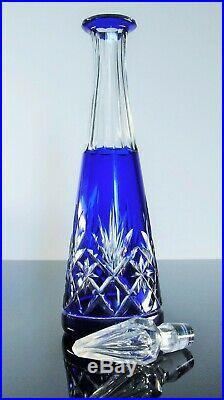 Ancienne Carafe Cristal Double Couleur Bleu Taille Massenet St Louis