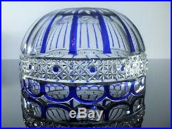 Ancienne Coupe Saladier Cristal Double Couleur Bleu Taille St Louis Art Déco
