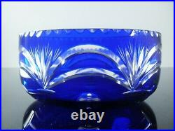 Ancienne Coupe Saladier En Cristal Double Couleur Bleu Taille St Louis 1930