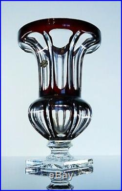 Ancienne Grand Vase Cristal Couleur Bordeaux Forme Medici St Louis Signe