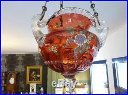 Ancienne JARDINIERE SUSPENDUE verre ou cristal EMAILLE CLICHY BACCARAT ST LOUIS