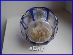 Ancienne Lampe Berger Cristal De St Louis Blue Manque Etouffoir