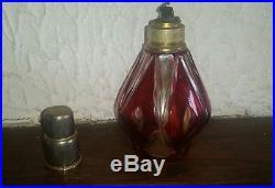 Ancienne Lampe Berger en Cristal double, taillé. Saint St. Louis. Début XXe