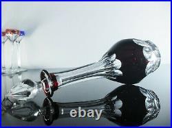 Ancienne Service Digestif Cristal Couleur 6 Verres Carafe Bristol St Louis