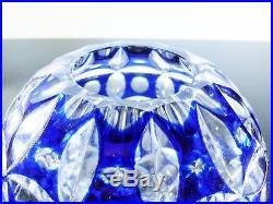 Ancienne Vase Boule En Cristal Couleur Bleu Double Couche St Louis