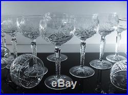 Anciennes 10 Verres A Vin En Cristal Taille Grave St. Louis Non Signe Avant 1936