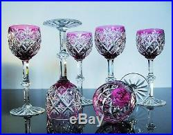 Anciennes 6 Verres A Vin Cristal Couleur Taille St. Louis Signée