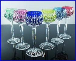 Anciennes 6 Verres A Vin Cristal Double Couleur Catalogue 1946 St Louis Signe
