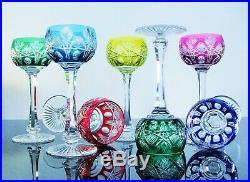 Anciennes 6 Verres A Vin En Cristal Couleur Taille Niepce St Louis Signe
