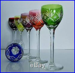 anciennes 6 verres a vin en cristal couleur taille st louis baccarat verres cristal st louis. Black Bedroom Furniture Sets. Home Design Ideas