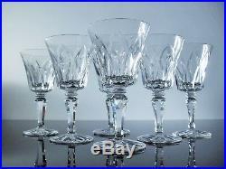 Anciennes 6 Verres A Vin En Cristal Souffle Taille Camargue St Louis Signe
