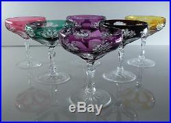 Anciennes 6 Verres Coupes Champagne Cristal Couleur Double Taille St. Louis