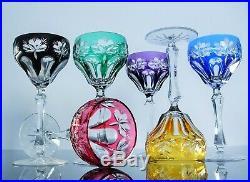 Anciennes 6 Verres Coupes Vin Martini Cristal Couleur Double Taille St. Louis