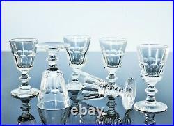 Anciennes 6 Verres Digestif Sake En Cristal Taille Cotes Plates Caton St Louis