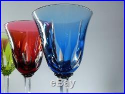 Anciennes Grand 6 Verres A Vin Cristal Couleur Taille Cerdagne St Louis Signe