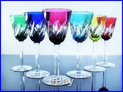 Anciennes Grand 6 Verres A Vin En Cristal Couleur Taille St Louis Signe