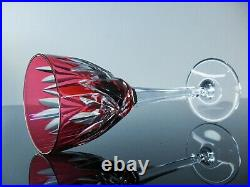 Anciennes Grand 6 Verres A Vin En Cristal Double Couleur Monako St Louis Signe