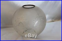 Antiquite Boule Globe Verre Grave Pour Lampe A Petrole St Louis Baccarat