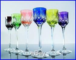 Art Déco Ancienne 6 Verres A Digestif Cristal Couleur Baccarat St Louis