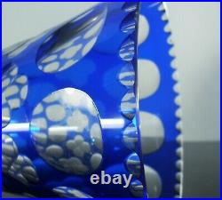 Art Deco Ancienne Grand Vase Cristal Double Couleur Bleu Taille Poli St Louis
