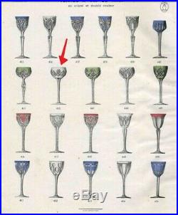 Art Déco Grand 6 Verres A Vin Cristal Couleur Taille Catalogue 1930 St Louis