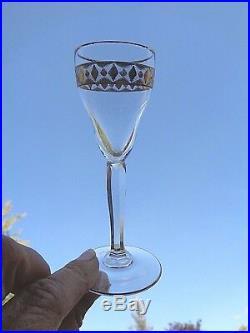Art Deco Saké Set Gilt Gilding Service Liqueur Cristal Gravé Or Doré St Louis Ag