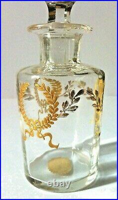BACCARAT/ST LOUIS flacons toillette cristal couronne de laurier or 19 ème