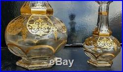 Baccarat Ou Saint Louis Grande Et Petite Carafe En Cristal Decor Dore