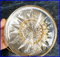 Baccarat Ou Saint Louis Vase Coupe Cristal Dore Rare Decor De Combat De Coqs