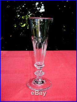 Baccarat Saint Louis 6 Flutes A Champagne Cristal Taillé Cotes Plates 19ème Aa