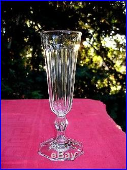 Baccarat Saint Louis 6 Flutes A Champagne Cristal Taillé Cotes Plates 19ème Bf
