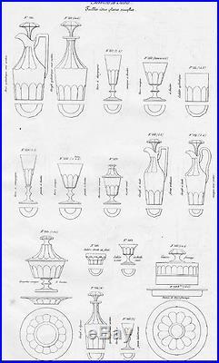 Baccarat Saint Louis Caton 12 Verres A Vin Cristal Taillé Côtes Plates 19ème XIX