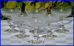 Baccarat Saint Louis Service de 6 coupes à champagne en cristal gravé