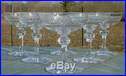 Baccarat Saint Louis Service de 6 coupes à champagne en cristal taillé