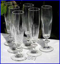 Baccarat Saint Louis Service de 6 flûtes à champagne en cristal taillé. XIXe