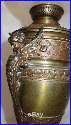 Belle lampe à pétrole KOSMOS BRENNER Globe cristal St Louis signé / 1900 XIX