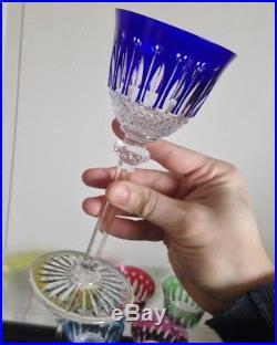 Belle série 6 verres à eau coloré cristal marqué Saint Louis Modéle Tommy