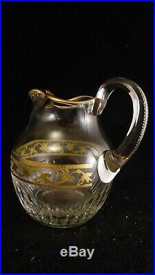 Broc / cruche à eau en cristal de St Louis gravé à l'acide avec belle dorure